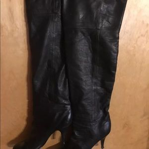 Shoes - 1980s Vintage Thigh High Leather Boots